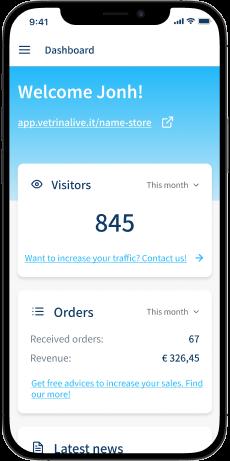 dashboard of the admin panel vetrina live, smartphone view