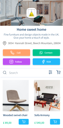 Furniture and design object online shop created with vetrinalive