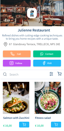 Food delivery for a Restaurant, created with vetrinalive
