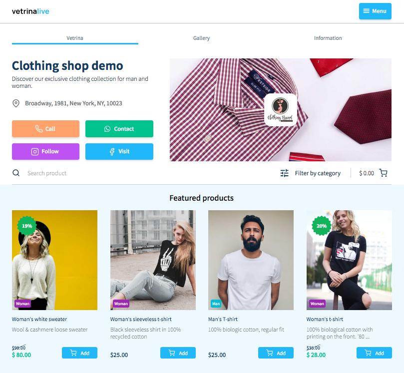 e-commerce, catalog and digital menu with Vetrina Live