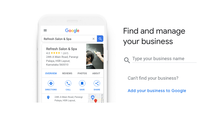 Your company profile on Google My Business