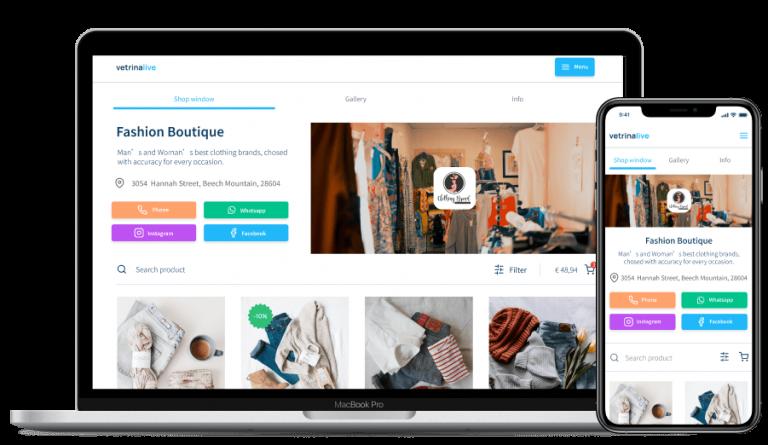 Vetrina Live easy e-commerce, catalog and digital menu