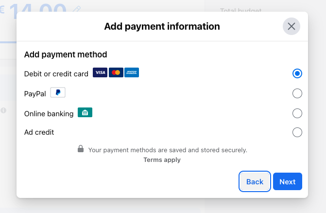 add a payment method to run your facebook ads